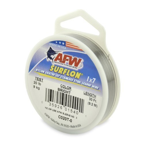 American Fishing Wire Surflon Nylon Coated 1 x 7 Stainless Steel Leader Wire, Bright Color, 20 Pound Test, 30-feet by American Fishing Wire