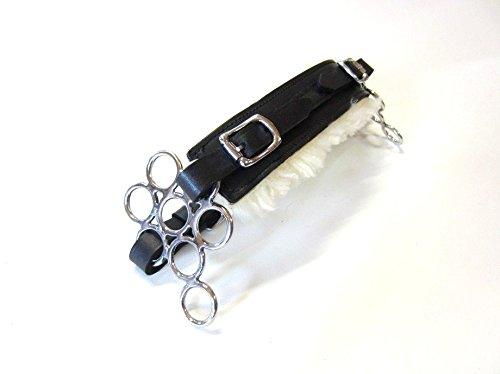 PS Pferdeartikel Set Gebisslose Zäumung Hackamore Flower Silber - Echt Schaffell Farbe Schwarz mit silbernem Beschlag