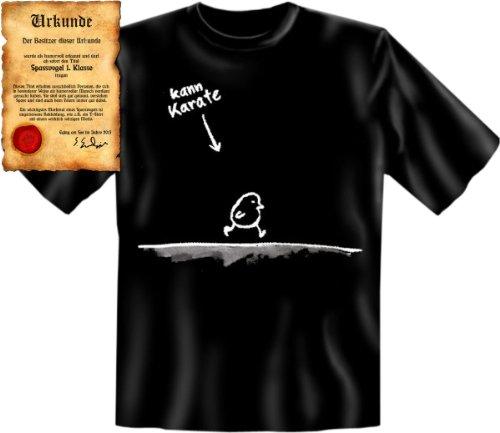Spaßiges Fun Shirt für Furchtlose! Kann Karate! T-Shirt, lustiges Geschenk mit Spaßurkunde! Gr: XXL Farbe: schwarz