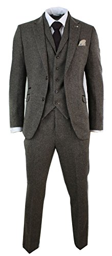 Mens 3 Piece Wool Blend Herringbone Tweed Suit Blue Brown Vintage Tailored Fit (Herren Tweed)