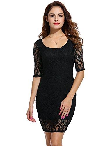 ANGVNS Damen Rundhals-Ausschnitt Spitzenkleid Floral Slim Fit Kurz Cocktailkleid Abendkleid Parykleid Schwarz XS 36