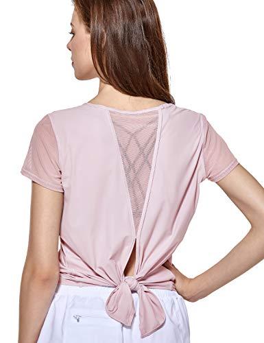 CRZ YOGA Women's Yoga Workout Mesh Shirts Activewear Sexy Open Back Sports Shirt Tops Graues Rosa M(40) -