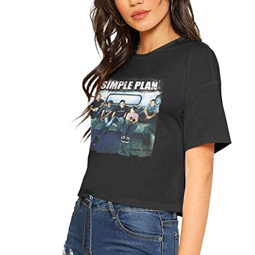Simple Plan Sexy Exposed Navel Female T-Shirt Bare Midriff Crop Top T Shirts