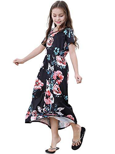 SANMIO Boho Mädchen Kleider Elegant Kurze Ärmel Floral Print Maxi Dress Strandkleider Partykleider Cocktailkleid Floral Print Maxi-kleid