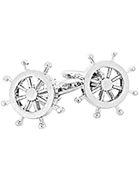 Anglefish Designer Wheel Silver Cufflink For Man