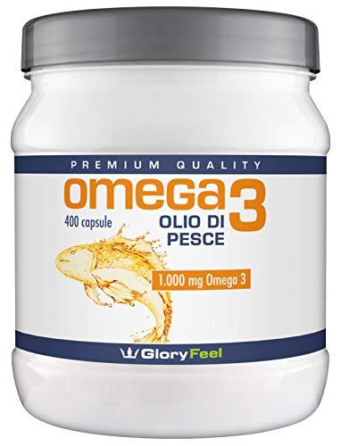 Omega 3 Olio di Pesce | 400 Capsule di Omega-3 1000mg (Fornitura per più di 1 anno) |Integratore Alimentare di GloryFeel
