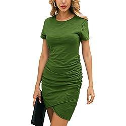 Ecowish - Vestido - Manga Corta - para Mujer Verde Small