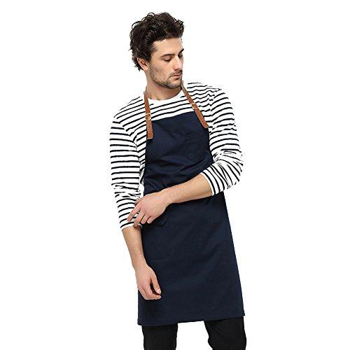 JYPHM Kochschürze Ledergurte Restaurant BBQ und Home Kitchen Schürze für Frauen und Männer Professional Chef Bib Schürze mit Taschen Indigo Indigo Bib