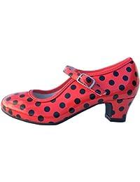 La Señorita Zapato Flamenco baile Sevillanas niña o mujer rojo negro (Talla 39 - 23