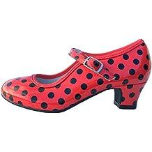 MADE IN SPAIN Zapato Baile sevillanas Flamenco Lunares Blancos Para Niña o Mujer Danka EN Rojo T1551 Talla 38 AA6fIXGl