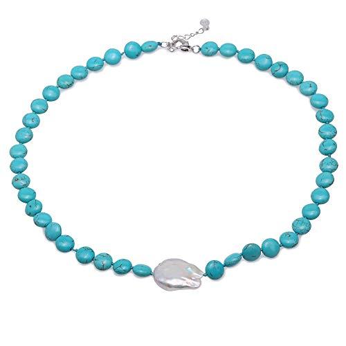JYX Türkis Halskette 10mm Blau Türkis mit einem unregelmäßigen 20 × 26mm weiße Perle Anhänger handgefertigte Edelstein Perlen Halskette für Frauen 19,5