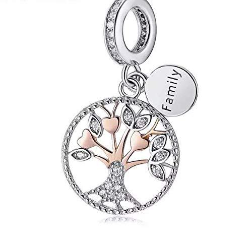Featherwish - ciondolo a forma di albero della vita, in argento sterling 925 e zirconi, per braccialetti pandora e argento, colore: gold, cod. na