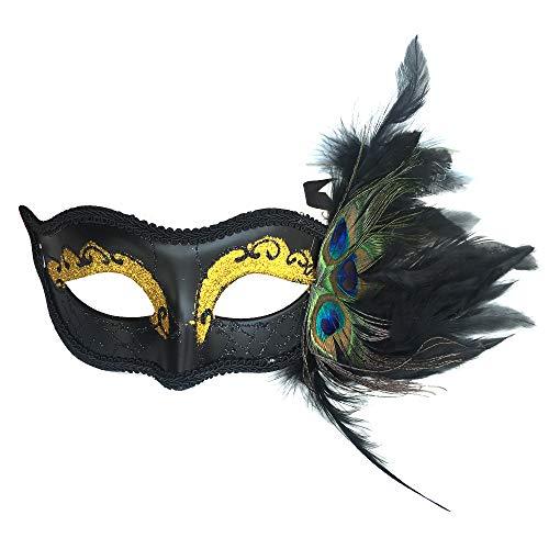 Peacock Schwarz Kostüm - SOUTHSKY® Pfauenfeder Maske Golden Sparkled Eyes Schwarz Matt Venezianische Maske Masquerade Burlesque Ball für Kostüm Halloween Kostüm Cosplay Party