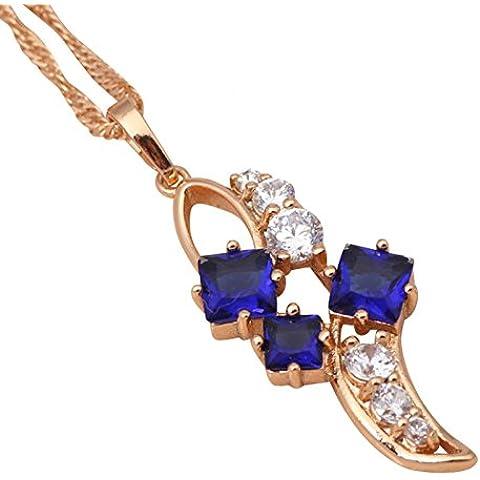 Bling fashion Royal Fashion Jewelry per le donne oro reale 18K Placcato Blu Scuro Cristallo Collane Ciondoli ln368a