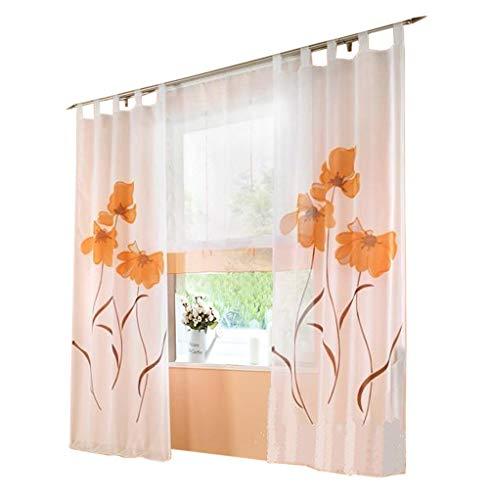 Pack 1 cortina floral cortina trabillas flores impresión