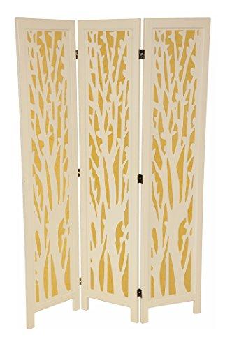 Paravent / Sichtschutz / Raumteiler / Trennwand Holz weiß mit farbigem Einsatz - faltbar, 165 x 110 cm, dekorativ