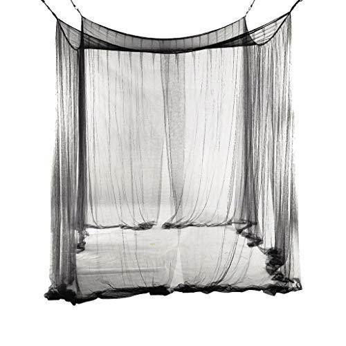 Moskitonetze Übergroße Moskitonetz-Schutznetze Moskitonetz Schwarz 4 Eckbettrahmen Vorhänge Baldachin Camping Insektennetze Moskitosteuerung Langlebig Moskitonetze