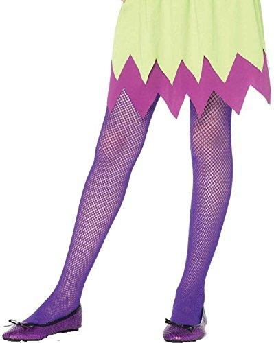 Leg Avenue Kinder Mädchen Netz Strumpfhose neon lila Größe M ca. 128 bis 140 (Neon Fischnetz Leggings)