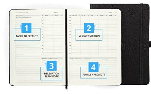 Action Day Planer 2018–World 's Best Action Planer, Action Layout, das Things Done–Tägliche/wöchentliche/monatliche/Jährliche Agenda, Organizer und Ziel Tagebuch (Fadenheftung) 8×11 Inch – Black schwarz - 8