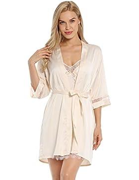 BellisMira Camisones De Las Mujeres Largo De Seda De Hielo Sexy Nightclothes y Kimonos de Satén Bata De Baño para...