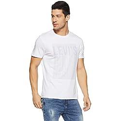 Levi's Men's Printed Regular Fit T-Shirt (28771-0179_White_M)