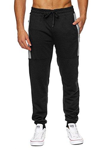 Pantaloni da jogging da uomo | (Comfort Fit) sporty GYM Fitness allenamento per il tempo libero con polsini elasticizzati ai polsini | H1849 di Max Men Nero