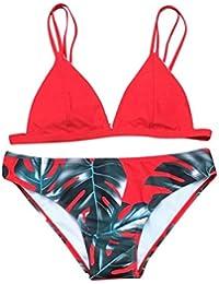 HUI.HUI Tankini Femme 2 Pieces Bohème Imprimé Feuilles Triangle Bikini Set Maillot de bain Beachwear