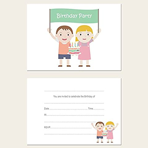 Kids Birthday Invitations - Twins - Pack of 10