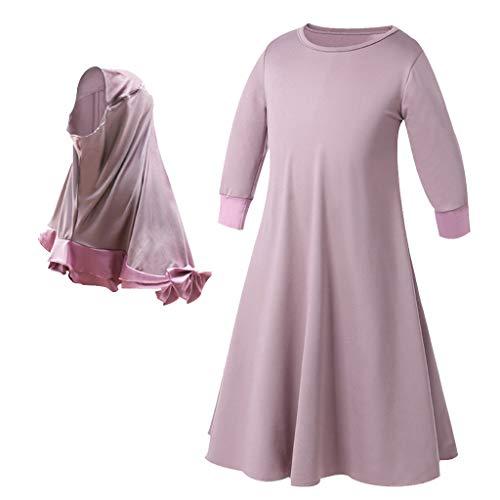 Free People Violett (Julhold Kleinkind Baby Kind Mädchen Ramadan Muslim Abaya Dubai Robe Traditionelle Kleidung Kleid Muslimisches Kopftuch Festival)