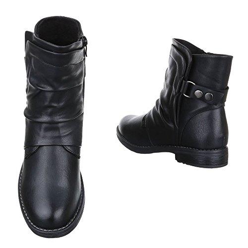 Ital-design Comfort Stivaletti Donna Scarpe Slip-on Boots Tacco Largo Leggermente Imbottito Con Cerniera Ankle Boots Nero