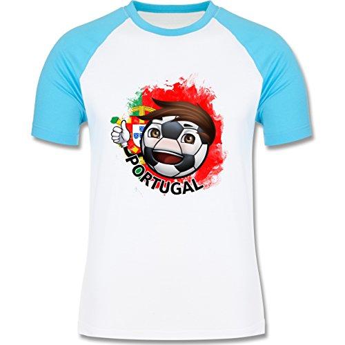 EM 2016 - Frankreich - Fußballjunge Portugal - zweifarbiges Baseballshirt für Männer Weiß/Türkis
