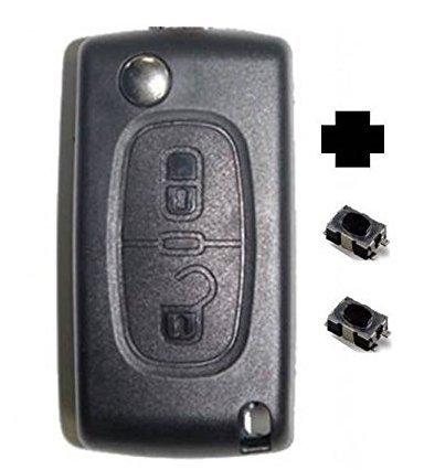 Coque plip 2 boutons PEUGEOT 107 207 307 308 407 Citroen C1 C2 C3 C4 C5 C8 Evasion modèle CE0536- Pile sur coque + 2 boutons switch à souder