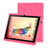 iRULU 7 Zoll Tablet Google Android 6.0 Quad Core 1024x600 Dual Kamera Wi-Fi Bluetooth 1GB/8GB Play Store NetFilix Skype 3D Spiel Unterstützt GMS Zertifiziert mit Einem Jahr Garantie(Pink)