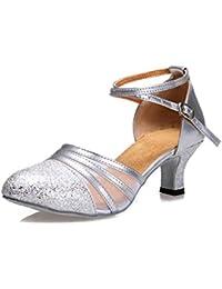 misu - Zapatillas de danza para mujer Plateado plata, color Plateado, talla 39.5