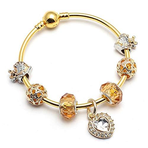 0740161963c6 GSYDSZ Color Dorado Amour Love Calado corazón Pulseras y brazaletes para  Las Mujeres Fit Fine Pulsera