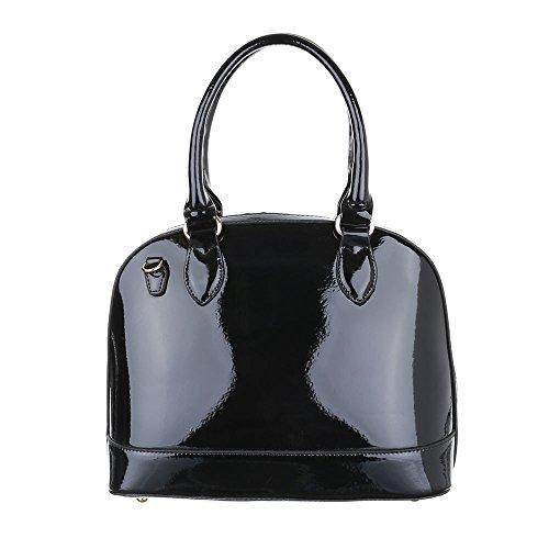 iTal-dEsiGn Damentasche Mittelgroße Schultertasche Handtasche Kunstleder TA-A139 Schwarz