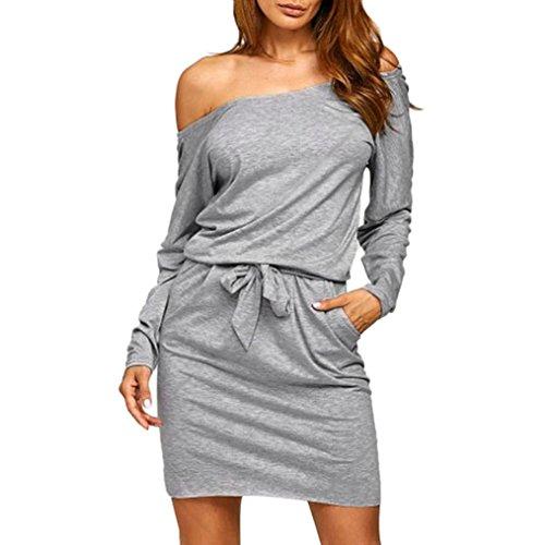 Kleid Damen Kolylong®Frauen Reizvoller Aus Schulter Kleid Herbst Elegant Langarm Kleid Cocktail Partykleid Minikleid Abendkleid Bluse (S, Grau)