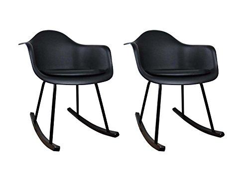 Meubletmoi Lot 2 Chaises Bascules - Noir - Fauteuils Design Vintage scandinave - Pieds Acier et Patins Bois - Confortable et Robuste - BLACKY