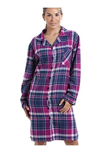 Nachthemd mit langen Ärmeln und Knopfleiste vorne - Baumwoll-Flanell - Karomuster in Violett & Dunkelblau 40/42 (Baumwoll-flanell-nachthemd Damen)