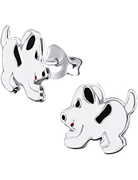 Laimons Kids Kinder-Ohrstecker Kinderschmuck Hund Schwarz, Weiß Sterling Silber 925