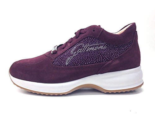 GATTINONI sneaker donna Woman Sport shoe suede Bordeaux PIGAT6039WSA410, camoscio, strass, lacci, (35)