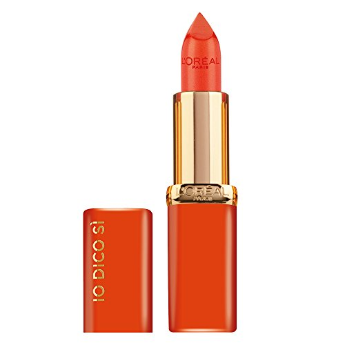 L'Oréal Paris Rossetto Lunga Durata Color Riche, Edizione Limitata, Idea Regalo Donna, Finish Satinato, IO DICO SÌ, 163 Orange Magique