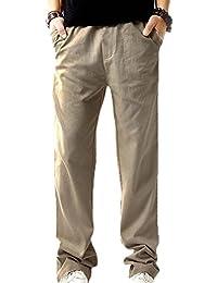 Pantalones de lino ocasionales de los hombres Pantalones de cintura  elásticos ligeros con los bolsillos bf049247c442