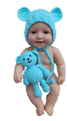 Kostüm Bär Blau - Jastore Neugeborenen Fotoshooting Kostüm Junge Mädchen Bär Mützen Fotographie Prop Crochet Geschenk Baby Kleidung neuborn (Blau)