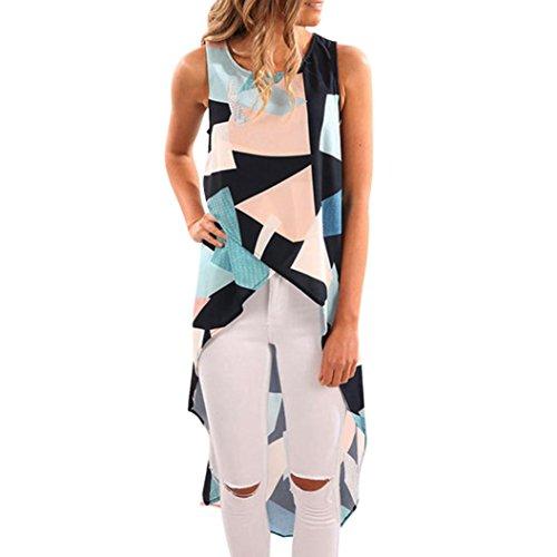 Bekleidung Longra Damen geometrisches Tank Top asymetrisches Trägershirt Sleeveless T-Shirt (XL/40, Blue)