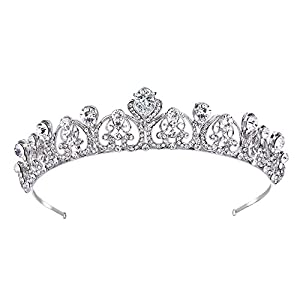 Ever Faith Women's Rhinestone Crystal CZ Bridal Romantic Love Heart Crown Hair Band Clear Silver-Tone