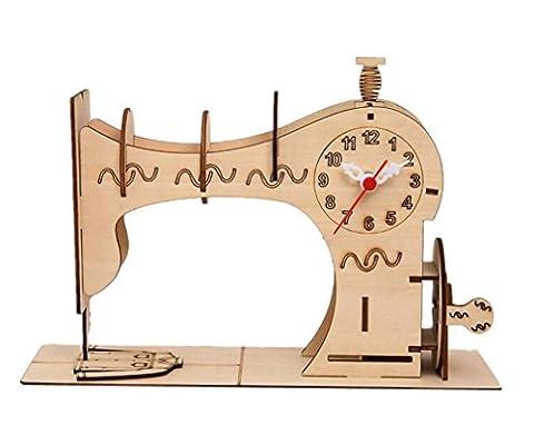 YANFEI Puzzles en 3D Horloge en bois Horloge pour enfants Horloge La machine à coudre La modélisation peut être assemblée