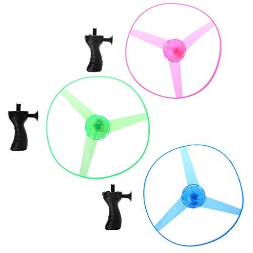 osfanersty LED Blinkt Kunststoff Pull String Fliegende Untertasse Propeller Toy Disc Hubschrauber Neu