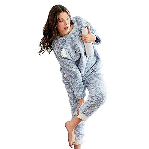 GWELL Süß Baby Blau Schlafanzug Set Damen Mädchen Flanell Pyjama Zweiteiliger Langarm Nachtwäsche Winter L (Flanell-pyjama Süße)