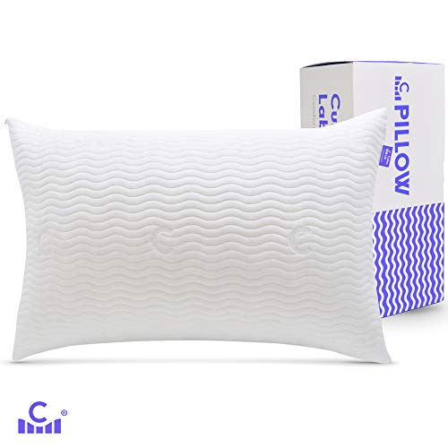 Cushion Lab Verstellbares geschreddertes Memory-Schaum Kissen für Rücken, Seiten, Bauchschläfer - Verstellbares Loft für Nackenschmerzen - hypoallergen, waschbarer Bambus-Bezug, Certipur Standard weiß -